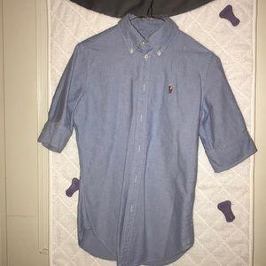 Ralph Lauren blue 3/4 sleeve button down shirt, XS